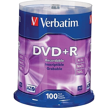 Verbatim® 4.7GB DVD+R, 16x, 100-Pack Spindle