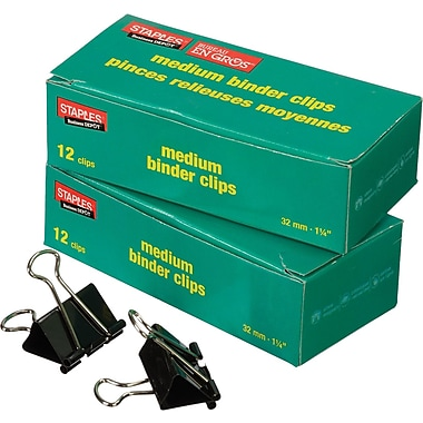 Staples® Boxed Binder Clips, Medium 1-1/4