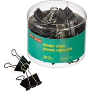 "Staples® Binder Clips, Standard 1"", Black, 30/Tub"