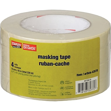 Staples® Masking Tape, 18mm x 55m