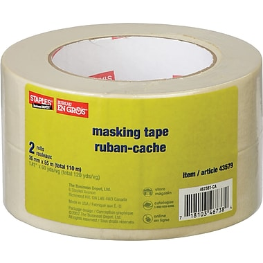 Staples® Masking Tape, 36mm x 55m