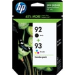 HP 92/93 Black and Tricolor Ink Cartridges (C9513BN), Combo 2 Pack