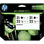 Hp 21/21/22/22 Black And Tricolor Ink Cartridges (cd946fn),