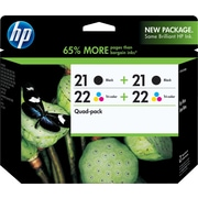 HP 21/21/22/22 Black and Tricolor Ink Cartridges (CD946FN), Combo 4/Pack