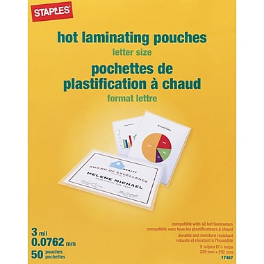 Staples 3 Mil Thermal Laminating Pouches Letter Size 50
