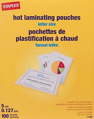Staples 5 Mil Thermal Laminating Pouches Letter Size 100