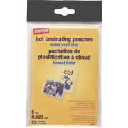 Staples Index Card Size Thermal Laminating Pouches, 5 mil, 25 pack