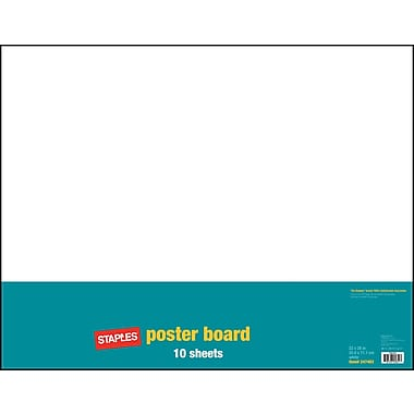 Staples Poster Boards, 10-Pack, White, 22