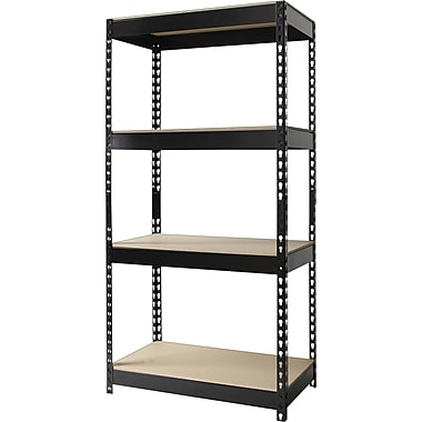 Hirsh Heavy-Duty Riveted Boltless Steel Shelving, 4 Shelves, Black, 60in.H x 30in.W x 16in.D