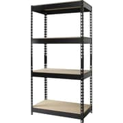Hirsh Heavy-Duty Riveted Boltless Steel Shelving, 4 Shelves, Black, 60H x 30W x 16D
