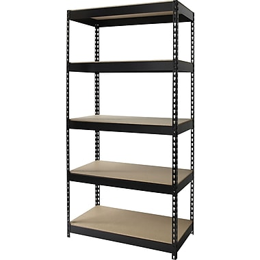 Hirsh Heavy Duty Industrial Steel Shelving, 5 Shelves, Black, 72in.H x 36in.W x 18in.D