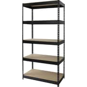 Hirsh Heavy-Duty Riveted Boltless Steel Shelving, 5 Shelves, Black, 72H x 36W x 18D