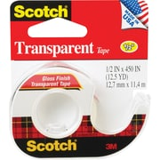 "Scotch® Transparent Tape, 1/2"" x 450"" with Dispenser, 1"" Core, 1/Pk"