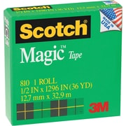 Scotch® Magic™ Tape 810 Refill, 1/2 x 36 yds, Each