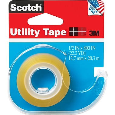 Scotch® Transparent Utility Tape with Dispenser, 1/2in. X 800in., 1in. Core