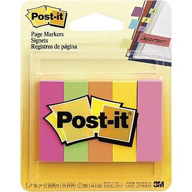 Post-it® - Marqueurs de pages, couleurs fluorescentes variées, 1/2 po x 2 po, bloc/50, paq./5