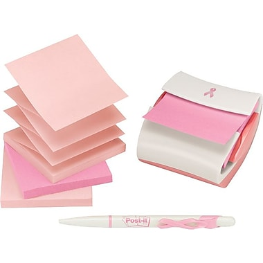 Post-it® Pink Ribbon 3in. x 3in. Note Dispenser & Pen