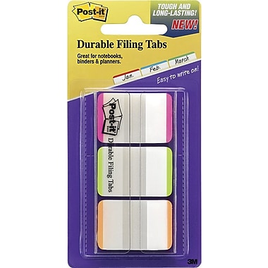 Post-it® 1in. Durable Tabs, Pink/Green/Orange Color Bars, 66 Tabs/Pack