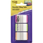 "Post-it® 1"" Durable Tabs, Pink/Green/Orange Color Bars, 66 Tabs/Pack"