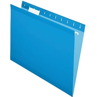 Pendaflex 5 Tab Hanging File Folders, Letter, Blue, 25/Box
