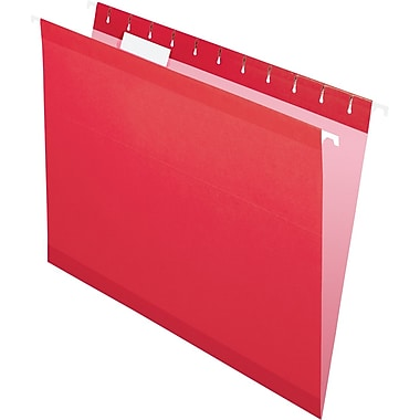 Pendaflex 5 Tab Hanging File Folders, Letter, Red, 25/Box