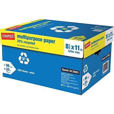 Staples 30% Recycled Multipurpose Paper, 8 1/2