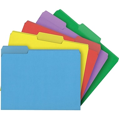 Staples® Colored File Folders, Letter, 3 Tab, Assortment A, 100/Box