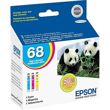 Epson 68 Color C/M/Y Ink Cartridges (T068520), High Yield, Combo 3/Pack