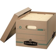 "BANKERS BOX® Recycled STOR/FILE™ Basic-Duty Storage Boxes, Letter/Legal, Stacking Strength 450 lb., Kraft, 10""H x 12""W x 15""D,"