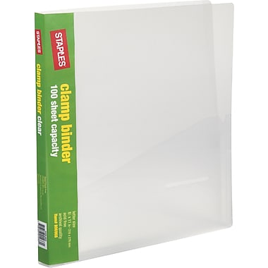 Staples Clamp Binder, Clear