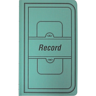 National® Brand Green Canvas Cover Record Book, 12-1/8in. x 7-5/8in., 150/Book