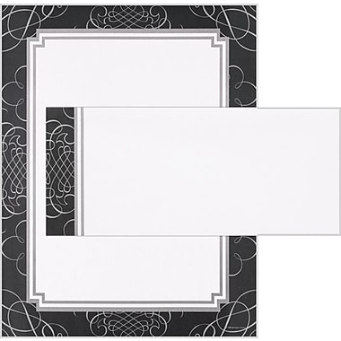 Black & Silver Scrolls Stationary and Envelopes