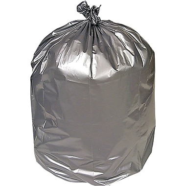 Brighton Professional Premium Linear Low-Density Trash Bags, Silver, 40-45 Gallon, 50 Bags/Box
