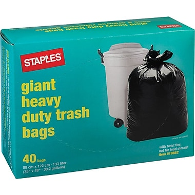 Staples® Giant Garbage Bags, Black, 35