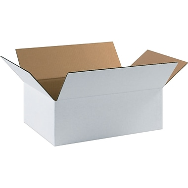17.25in.(L) x 11.25in.(W) x 6in.(H) - Staples® White Corrugated Shipping Boxes, 25/Bundle