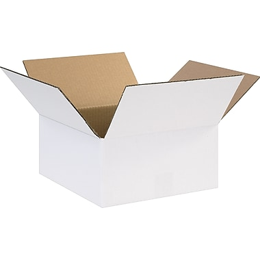 12in.(L) x 12in.(W) x 6in.(H) - Staples® White Corrugated Shipping Boxes, 25/Bundle