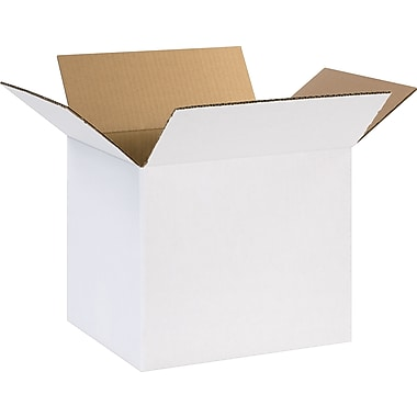 12in.(L) x 10in.(W) x 10in.(H) - Staples® White Corrugated Shipping Boxes, 25/Bundle