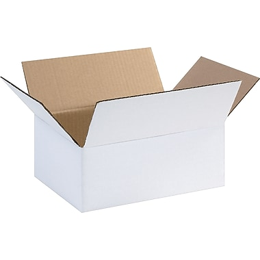 11.75in.(L) x 8.75in.(W) x 4.75in.(H) - Staples® White Corrugated Shipping Boxes, 25/Bundle