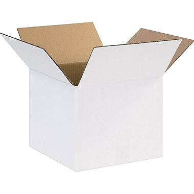12in.(L) x 12in.(W) x 10in.(H) - Staples® White Corrugated Shipping Boxes, 25/Bundle