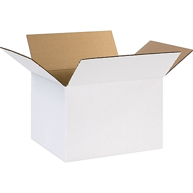 12in.(L) x 10in.(W) x 8in.(H) - Staples® White Corrugated Shipping Boxes, 25/Bundle