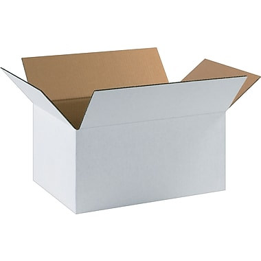 17.25in.(L) x 11.5in.(W) x 8in.(H) - Staples® White Corrugated Shipping Boxes, 25/Bundle