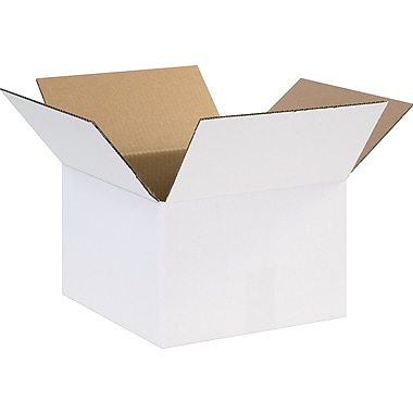 12in.(L) x 12in.(W) x 8in.(H) - Staples® White Corrugated Shipping Boxes, 25/Bundle
