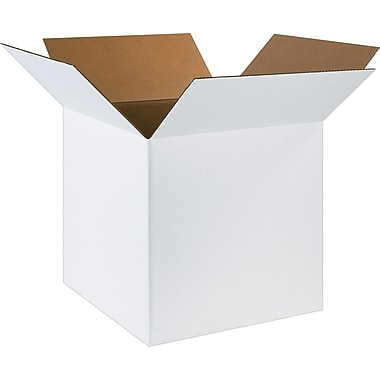 20in.(L) x 20in.(W) x 20in.(H) - Staples® White Corrugated Shipping Boxes, 10/Bundle