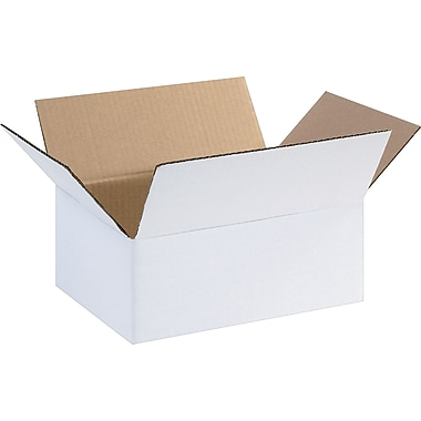 11.25in.(L) x 8.75in.(W) x 6in.(H) - Staples® White Corrugated Shipping Boxes, 25/Bundle
