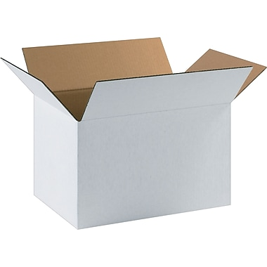 17.25in.(L) x 11.25in.(W) x 10in.(H) - Staples® White Corrugated Shipping Boxes, 25/Bundle