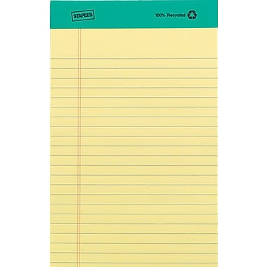 Staples 100% Recycled 5in. x 8in., Canary, Perforated Notepads, Narrow Ruled, 12/Pack