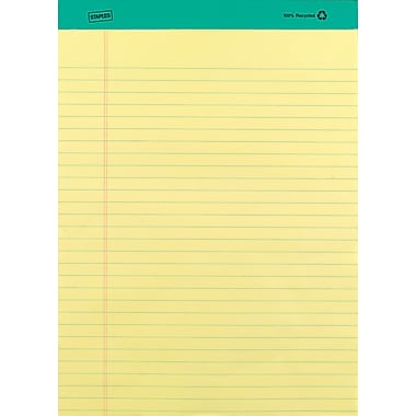 Staples 100% Recycled 8-1/2in. x 11-3/4in., Canary, Perforated Notepads, Wide Ruled, 12/Pack
