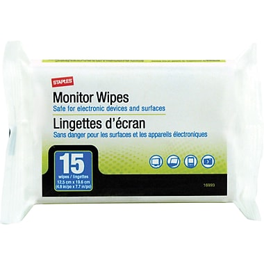 Staples Portable Monitor Wipes, 15/Pk