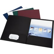 Esselte America Linen 2-Pocket Folders, Navy, 25/Box