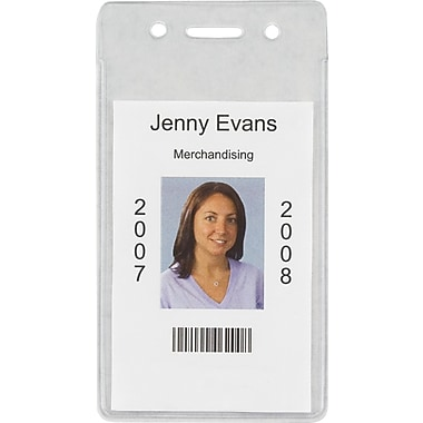 Staples® ID Badge Holders, Vertical, 50/Pk